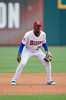 Buffalo Bisons third baseman Darnell Sweeney (29) during a game against the Pawtucket Red Sox on June 28, 2018 at Coca-Cola Field in Buffalo, New York.  Buffalo defeated Pawtucket 8-1.  (Mike Janes/Four Seam Images)