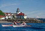 Seattle, sea kayaking, couple paddle past Alki Point, Mount Rainier, Puget Sound, Washington State, Pacific Northwest, USA, North America,