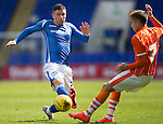 St Johnstone v Blackpool...25.07.15  McDiarmid Park, Perth.. Pre-Season Friendly<br /> Michael O'Halloran is tackled by Jarrett Rivers<br /> Picture by Graeme Hart.<br /> Copyright Perthshire Picture Agency<br /> Tel: 01738 623350  Mobile: 07990 594431