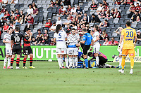 10th February 2021; Bankwest Stadium, Parramatta, New South Wales, Australia; A League Football, Western Sydney Wanderers versus Melbourne Victory; Marco Rojas of Melbourne Victory receives treatment as referee Alex King demonstrates the high challenge