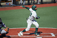 Gino Groover (23) of the Charlotte 49ers follows through on his swing against the Florida Atlantic Owls at Hayes Stadium on April 2, 2021 in Charlotte, North Carolina. The 49ers defeated the Owls 9-5. (Brian Westerholt/Four Seam Images)