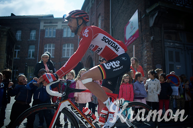 Jelle Vanendert (BEL/Lotto-Soudal) to the start<br /> <br /> 79th Flèche Wallonne 2015