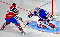 24 January 2009: New York Rangers goaltender Henrik Lundqvist stops Montreal Canadiens defenseman Andrei Markov in the first round of the Elimination Shootout of the NHL SuperSkills Competition, during the All-Star Weekend at the Bell Centre in Montreal, Quebec, Canada. ***** Editorial Sales Only ***** Mandatory Photo Credit: Ed Wolfstein Photo