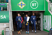 BELFAST, NORTHERN IRELAND - MARCH 28: Goalkeeper Ethan Horvath #22 of the United States with teammates Zack Steffen #1, and Chituru Odunze #25 before a game between Northern Ireland and USMNT at Windsor Park on March 28, 2021 in Belfast, Northern Ireland.