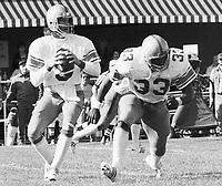 Ralph Dieter Brock Winnipeg Blue Bombers quarterback and Richard Crump running back. Copyright photograph Scott Grant