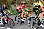 Race leader Red Jersey Primoz Poglic (SLO) Team Jumbo-Visma in the peloton during Stage 12 of the Vuelta Espana 2020 running 109.4km from Pola de Laviana to Alto de l'Angliru, Spain. 1st November 2020..    <br /> Picture: Luis Angel Gomez/PhotoSportGomez | Cyclefile<br /> <br /> All photos usage must carry mandatory copyright credit (© Cyclefile | Luis Angel Gomez/PhotoSportGomez)