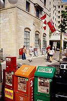 Ottawa (ON) CANADA - June 2008  File Photo - pedestrian walk near newspaper boxes