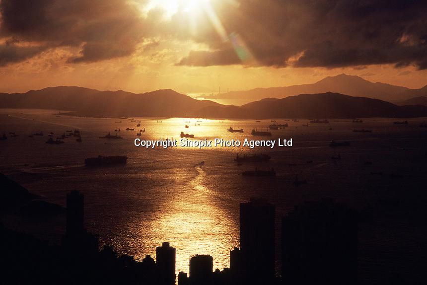Overlooking Hong Kong deep water harbor skylines  from the Peak, Hong Kong.