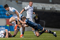 17th April 2021; AJ Bell Stadium, Salford, Lancashire, England; English Premiership Rugby, Sale Sharks versus Gloucester; Louis Rees-Zammit of Gloucester Rugby is tackled by AJ Macginty of Sale Sharks