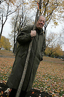 November 4, 2004, Montreal (QC) CANADA<br /> Denys Arcand posed with<br />  a tree planted in a Montreal Park, to commemorate that he and Marie-Josee Croze where chosen 2003 year personality by LaPresse (newspaper) and Radio Canada (TV network)