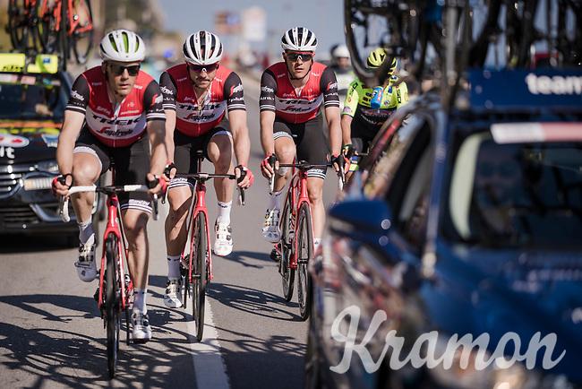 Markel IRIZAR (ESP/Trek-Segafredo) bringing back John DEGENKOLB (DEU/Trek-Segafredo) & Jasper Stuyven (BEL/Trek Segafredo)<br /> <br /> 110th Milano-Sanremo 2019 (ITA)<br /> One day race from Milano to Sanremo (291km)<br /> <br /> ©kramon