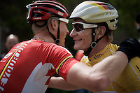 German National Champion André Greipel (DEU/Lotto-Soudal) wins the overall and is congratulated behind the finish line by teammate Lars Bak (DEN/Lotto-Soudal)<br /> <br /> stage 5: Eindhoven - Boxtel (183km)<br /> 29th Ster ZLM Tour 2015