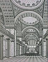 Study for Friedrichwerdersche Church by Karl Friedrich Schinkel. Classical interior, 1822