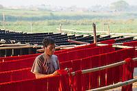 Traditional production of Silk and Cotton near the U-Bein Bridge, Amarapura, Mandalay, Myanmar, Burma