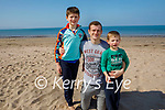 Enjoying a stroll on Derrymore beach on Saturday, l to r: Jason, Aaron and Nathan Foale.