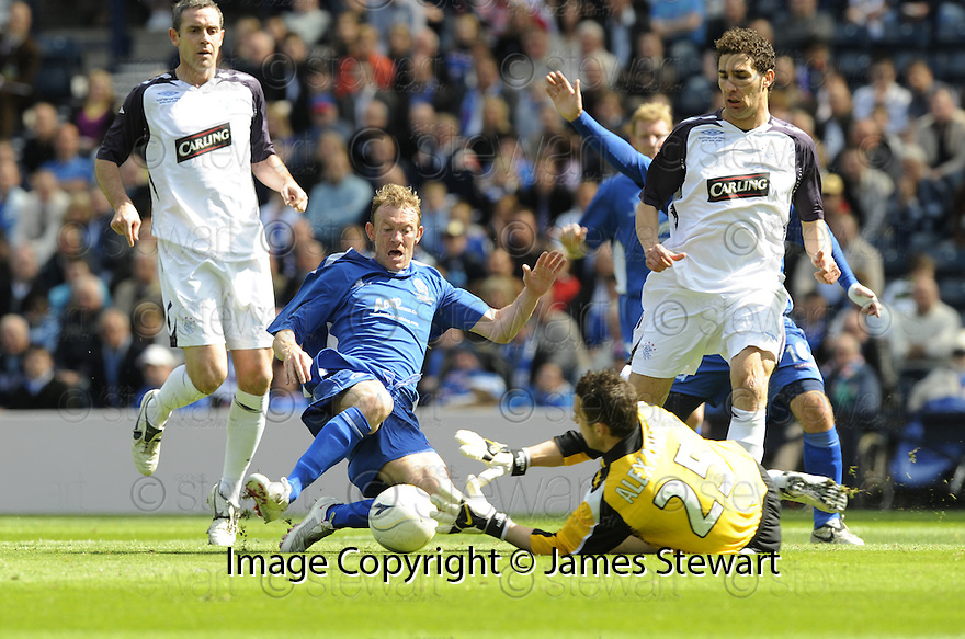 24/05/2008   Copyright Pic: James Stewart.File Name : sct_jspa24_qots_v_rangers.NEIL ALEXANDER SAVES AT THE FEET OF STEVE TOSH.James Stewart Photo Agency 19 Carronlea Drive, Falkirk. FK2 8DN      Vat Reg No. 607 6932 25.Studio      : +44 (0)1324 611191 .Mobile      : +44 (0)7721 416997.E-mail  :  jim@jspa.co.uk.If you require further information then contact Jim Stewart on any of the numbers above........