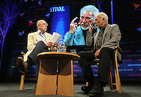 Hay on Wye. Sunday 05 June 2016<br />Singer Tm Jones (R) speaking with Dylan Jones (L) about his book 'Over The Top And Back The Autobiography' at the Hay Festival, Hay on Wye, Wales, UK