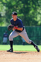 Infielder Levi Hyams (77) of the Atlanta Braves farm system in a Minor League Spring Training workout on Tuesday, March 17, 2015, at the ESPN Wide World of Sports Complex in Lake Buena Vista, Florida. (Tom Priddy/Four Seam Images)