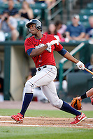 August 3, 2009:  Outfielder John Mayberry Jr. of the Lehigh Valley IronPigs at bat during a game at Frontier Field in Rochester, NY.  Lehigh Valley is the International League Triple-A affiliate of the Philadelphia Phillies.  Photo By Mike Janes/Four Seam Images