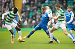 Celtic v St Johnstone…18.02.18…   Celtic Park    SPFL<br />George Williams fends off Eboue Kouassi and Kristoffer Ajer<br />Picture by Graeme Hart. <br />Copyright Perthshire Picture Agency<br />Tel: 01738 623350  Mobile: 07990 594431