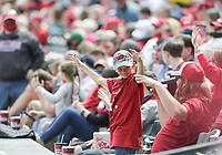 Arkansas fans call the hogs, Saturday, April 3, 2021 during the third inning of a baseball game at Baum-Walker Stadium in Fayetteville. Check out nwaonline.com/210404Daily/ for today's photo gallery. <br /> (NWA Democrat-Gazette/Charlie Kaijo)