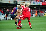 UEFA Women's Champions League 2018/2019.<br /> Semi Finals<br /> FC Barcelona vs FC Bayern Munchen: 1-0.<br /> Toni Duggan, Verena Schweers & Kathrin-Julia Hendrich.