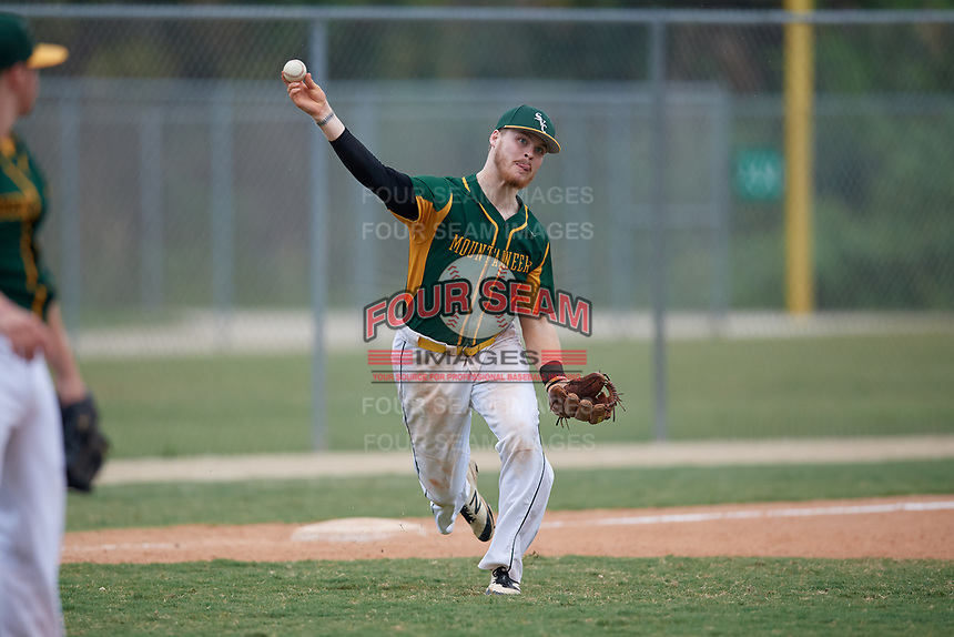 South Vermont Mountaineers third baseman Cody Sullivan (3) during a game against the Edgewood Eagles on March 18, 2019 at Lee County Player Development Complex in Fort Myers, Florida.  South Vermont defeated Edgewood 19-6.  (Mike Janes/Four Seam Images)