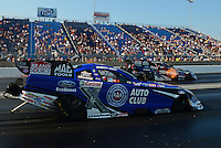 Jul. 1, 2012; Joliet, IL, USA: NHRA funny car driver Courtney Force (far lane) races teammate Robert Hight during the Route 66 Nationals at Route 66 Raceway. Mandatory Credit: Mark J. Rebilas-