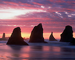 Seastacks at sunset along the Pacific Ocean coastline, Bandon Beach, Oregon, USA .  John leads private photo tours throughout Colorado. Year-round Colorado photo tours. John offers private photo tours in Washington and throughout Colorado. Year-round.