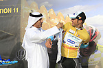 Tom Boonen (BEL) Omega Pharma-Quick Step wins Stage 1 and wears the first points and leaders jerseys of the Tour of Qatar 2012 running 142.5km from Barzan Towers to Doha Golf Club, Doha, Qatar. 5th February 2012.<br /> (Photo by Eoin Clarke/NEWSFILE).