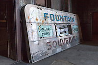 A soda Fountain sign that once beckoned commuters and travelers sits on the floor at the abandoned 16th St. railroad station in Oakland, California