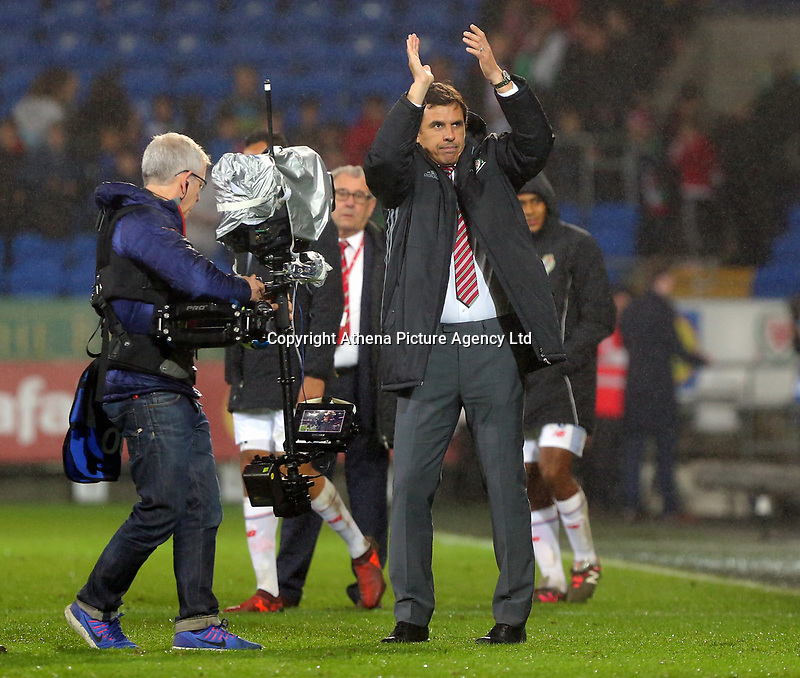 Wales manager Chris Coleman applauds at the end of the game during the international friendly soccer match between Wales and Panama at Cardiff City Stadium, Cardiff, Wales, UK. Tuesday 14 November 2017.