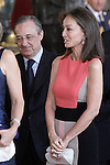Real Madrid's President Florentino Perez and the ex model Isabel Preysler during the reception after King's official coronation at the parliamen. June 19 ,2014. (ALTERPHOTOS/Pool)