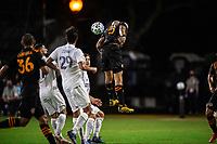 LAKE BUENA VISTA, FL - JULY 23: Aljaz Struna #5 of the Houston Dynamo heads the ball during a game between Los Angeles Galaxy and Houston Dynamo at ESPN Wide World of Sports on July 23, 2020 in Lake Buena Vista, Florida.