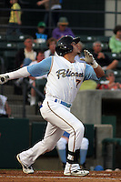 Myrtle Beach Pelicans center fielder Jake Skole #7 at bat during a game against the Salem Red Sox at Tickerreturn.com Field at Pelicans Ballpark on May 11, 2012 in Myrtle Beach, South Carolina. Salem defeated Myrtle Beach by the score of 5-3 in 14 innings. (Robert Gurganus/Four Seam Images)