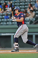 Third baseman Austin Riley (13) of the Rome Braves bats in a game against the Greenville Drive on Wednesday, August 31, 2016, at Fluor Field at the West End in Greenville, South Carolina. Rome won, 9-1. (Tom Priddy/Four Seam Images)