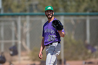 Colorado Rockies starting pitcher Chad Bettis (35) during a Minor League Spring Training game against the Milwaukee Brewers at Salt River Fields at Talking Stick on March 17, 2018 in Scottsdale, Arizona. (Zachary Lucy/Four Seam Images)