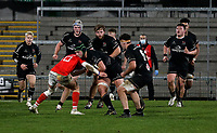 12 December 2020; Marcus Rea of Ulster  is tackled by Jake Flannery of Munster during the A series inter-pros series 20-21 between Ulster A and Munster A at Kingspan Stadium, Ravenhill Park, Belfast, Northern Ireland. Photo by John Dickson/Dicksondigital