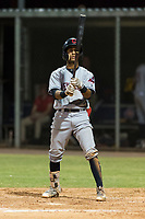 AZL Indians 2 third baseman Brayan Rocchio (24) at bat during an Arizona League game against the AZL Cubs 2 at Sloan Park on August 2, 2018 in Mesa, Arizona. The AZL Indians 2 defeated the AZL Cubs 2 by a score of 9-8. (Zachary Lucy/Four Seam Images)