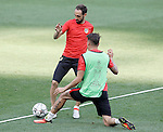 Atletico de Madrid's Juanfran Torres (f) and Angel Correa during Champions League 2015/2016 training session. May 27,2016. (ALTERPHOTOS/Acero)