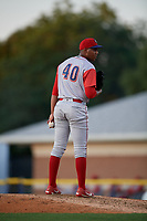Williamsport Crosscutters pitcher Gabriel Yanez (40) during a NY-Penn League game against the Batavia Muckdogs on August 25, 2019 at Dwyer Stadium in Batavia, New York.  Williamsport defeated Batavia 10-3.  (Mike Janes/Four Seam Images)
