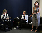 BroadwayHD's Bonnie Comley, Songwriter/composer Kathy Sommer and MAESTRA founder Georgia Stit during the MAESTRA May Meeting with guest speaker Bonnie Comley at The New York SongSpace on May 8, 2019 in New York City.