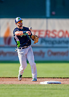 16 July 2017: Vermont Lake Monsters infielder Ryan Gridley, an 11th round draft pick for the Oakland Athletics, in action against the Auburn Doubledays at Centennial Field in Burlington, Vermont. The Monsters defeated the Doubledays 6-3 in NY Penn League action. Mandatory Credit: Ed Wolfstein Photo *** RAW (NEF) Image File Available ***