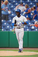 Dunedin Blue Jays center fielder Anthony Alford (22) at bat during a game against the Clearwater Threshers on August 15, 2016 at Bright House Field in Clearwater, Florida.  Dunedin defeated Clearwater 4-1.  (Mike Janes/Four Seam Images)