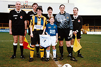 Captains and officials line up ahead of kick-off during Everton Ladies vs Millwall Lionesses, FA Women's Premier League Cup Final Football at Underhill, Barnet FC on 23rd March 1997