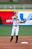 Lansing Lugnuts second baseman Nick Podkul (3) during a Midwest League game against the Wisconsin Timber Rattlers at Cooley Law School Stadium on May 1, 2019 in Lansing, Michigan. Wisconsin defeated Lansing 8-3 after the game was suspended from the previous night. (Zachary Lucy/Four Seam Images)