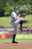 Rome Braves starting pitcher Max Fried (32) in action against the Kannapolis Intimidators at Kannapolis Intimidators Stadium on June 29, 2016 in Kannapolis, North Carolina.  The Braves defeated the Intimidators 4-0.  (Brian Westerholt/Four Seam Images)