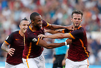 Calcio, Serie A: Roma vs Juventus. Roma, stadio Olimpico, 30 agosto 2015.<br /> Roma's Miralem Pjanic, right, celebrates with teammate Seydou Keita after scoring during the Italian Serie A football match between Roma and Juventus at Rome's Olympic stadium, 30 August 2015.<br /> UPDATE IMAGES PRESS/Riccardo De Luca