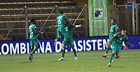 BOGOTA -COLOMBIA, 4-10-2020:Matias Mier de Equidad celebra después de anotar el primer gol de su equipo durante el partido entre La Equidad y El Deportivo Independiiente Medelín por la fecha 11 de la Liga BetPlay DIMAYOR I 2020 jugado en el estadio Estadio Metropolitano de Techo de la ciudad de Bogotá. /Matas Mier of La Equidad celebrates after scoring the first goal of his team during match between La Equidad and Deportivo Independiente Medellin  for the date 11 BetPlay DIMAYOR League I 2020 played at Metropolitano de Techo stadium in Bogota city city. Photo: VizzorImage/ Felipe Caicedo / Staff