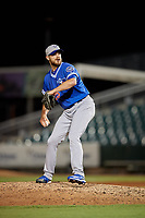 Oklahoma City Dodgers relief pitcher Justin Grimm (25) during a Pacific Coast League game against the New Orleans Baby Cakes on May 6, 2019 at Shrine on Airline in New Orleans, Louisiana.  New Orleans defeated Oklahoma City 4-0.  (Mike Janes/Four Seam Images)